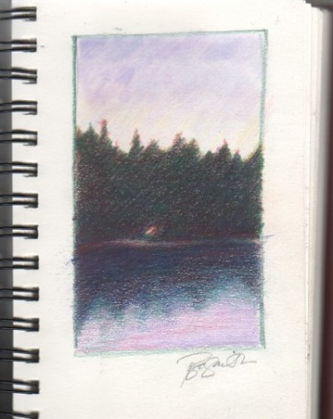 Crane Prairie Reservoir, journal sketch (colored pencil)