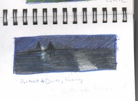 """Sketch for """"Death, Fishing,"""" colored pencil in journal"""