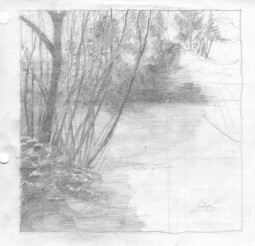 """Sketch for """"River House,"""" pencil"""
