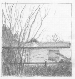 """Sketch for """"In the Evening,"""" pencil"""